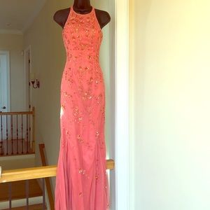 LIlLIE RUBIN sz XS coral prom gown formal cruise